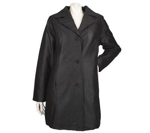 Women's Sheepskin Soft Leather ¾ Mid length Coat