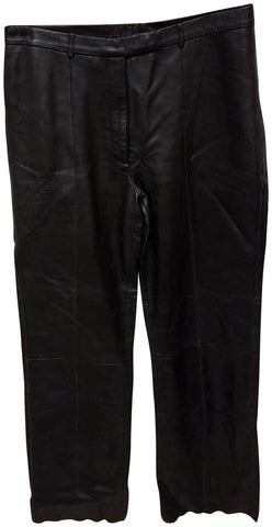 Women's Black Soft Leather Pleated Dress Pants with Open Hem Plus Size