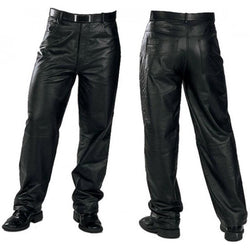 Men's Heavy Duty Thick Cowhide Leather Motorcycle Jeans Trousures (Black)