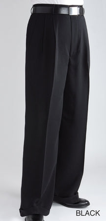 Men's Unhemmed Pleated Dress Pants Slack Trousers
