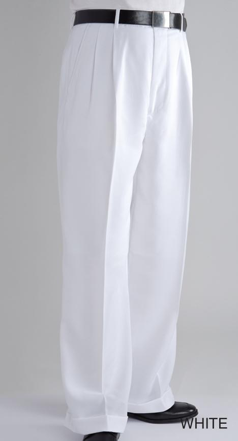 Men's Unhemmed Pleated Dress Pants Slack Trousers White
