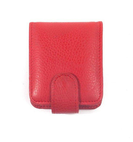 Bella Full Grain Leather Double Lipstick Case Holder with Mirror in Red color