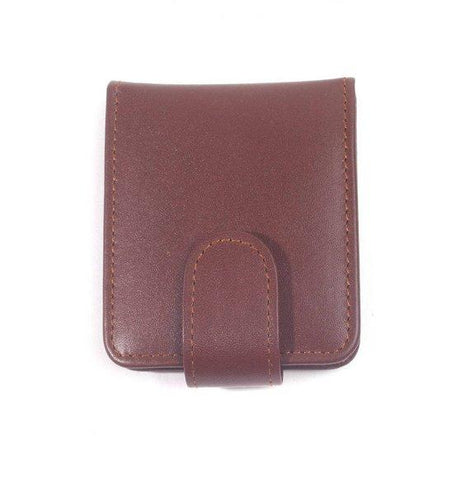 Bella Full Grain Leather Double Lipstick Case Holder with Mirror in Brown Color