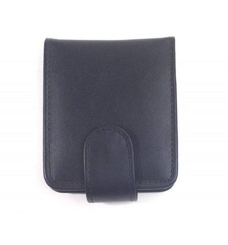Bella Full Grain Leather Double Lipstick Case Holder with Mirror in Black Color
