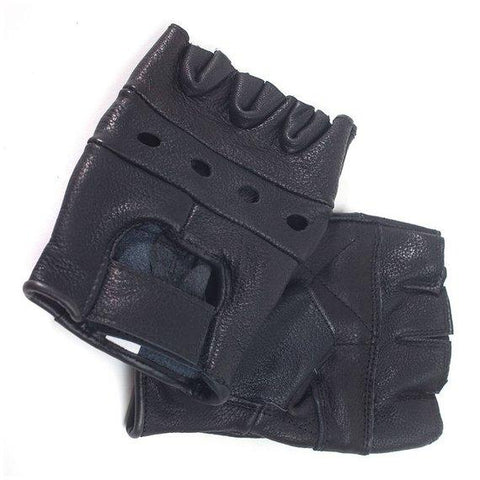 Unisex Multipurpose Lambskin Leather Black  Fingerless Gloves