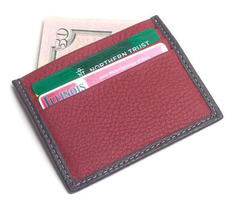 Gio Handcrafted Luxurious Italian Leather Unisex 6 Card Holder Wallet Travel Accessory With Complementary Bill Slot in Red/Black Color