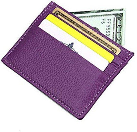 Gio Handcrafted Luxurious Italian Leather Unisex 6 Card Holder Wallet Travel Accessory With Complementary Bill Slot in Purple Color