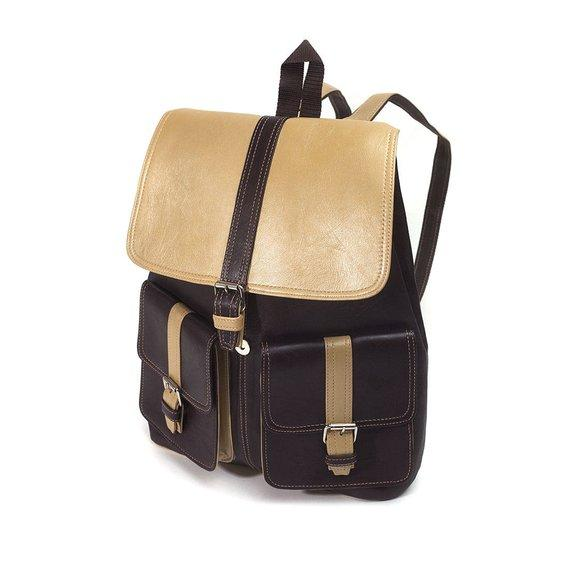 Handmade Top Grade Leather Laptop Unisex Backpack Cream/Black color