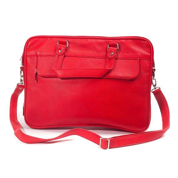 Jeffery Handmade Buffalo Leather Laptop Unisex Bag in Red Color