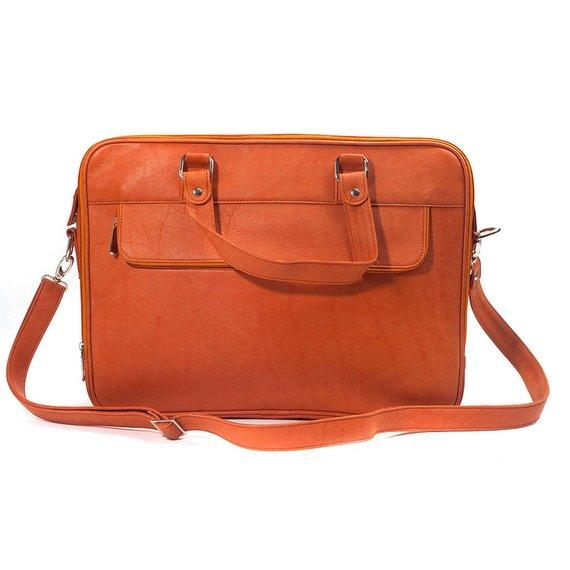 Jeffery Handmade Buffalo Leather Laptop Unisex Bag in Tan Color
