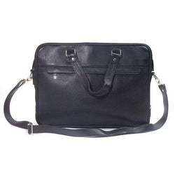 Jeffery Handmade Buffalo Leather Laptop Unisex Bag in Black Color