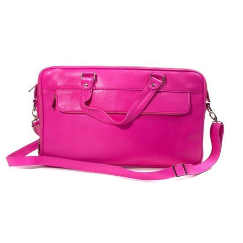 Jeffery Handmade Buffalo Leather Laptop Unisex Bag in Pink Color