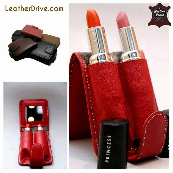Bella Full Grain Leather Double Lipstick Case Holder with Mirror