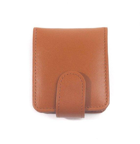 Bella Full Grain Leather Double Lipstick Case Holder with Mirror in Tan Color