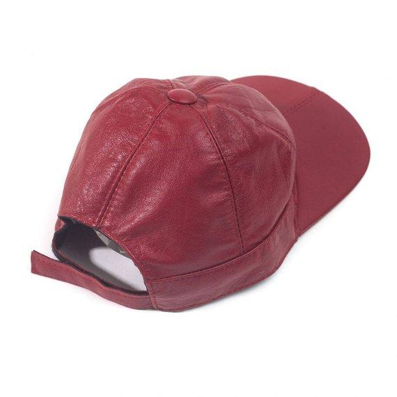Juliette lambskin leather baseball cap for women in Red Color