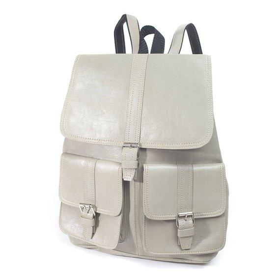 Handmade Top Grade Leather Laptop Unisex Backpack Cream color