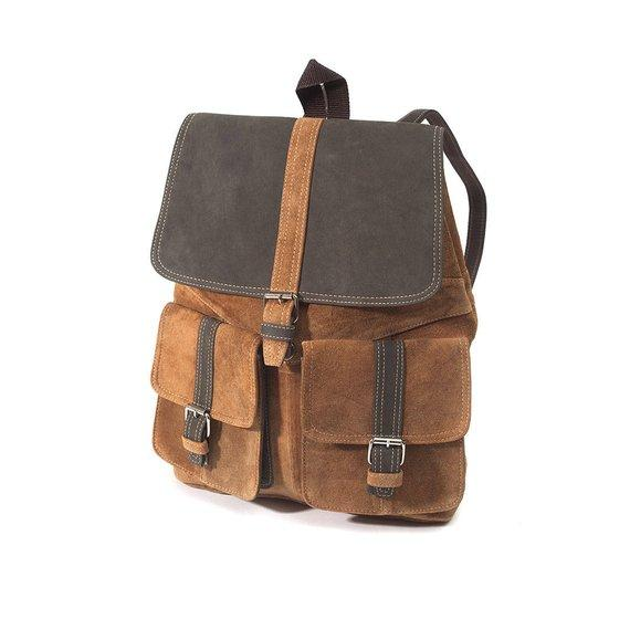 Handmade Top Grade Leather Laptop Unisex Backpack Tan/Black color