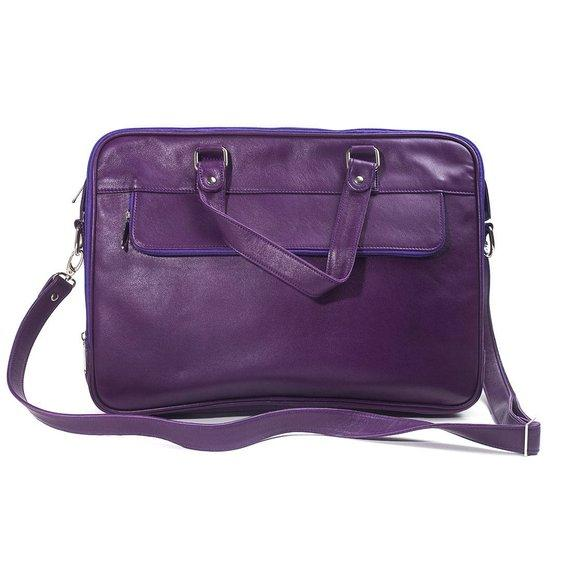 Jeffery Handmade Buffalo Leather Laptop Unisex Bag in Purple Color