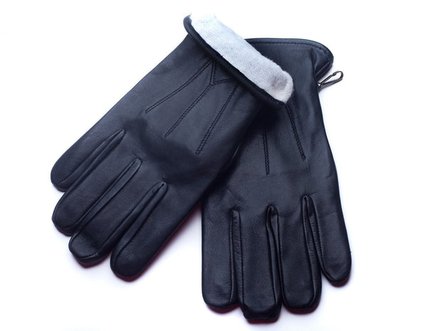 Men's Premium Lambskin Leather Black Winter Gloves With Ultrasoft Interior Acrylic Lining
