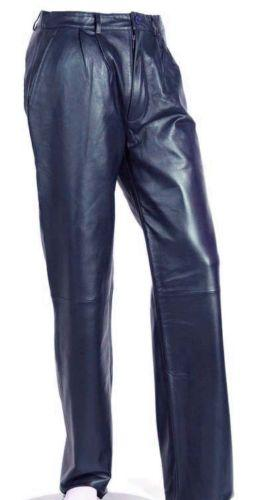 Women's Navy Blue Soft Leather Pleated Dress Pants with Open Hem Plus Size
