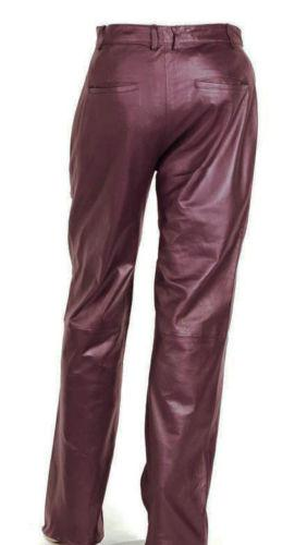 Women's Burgandy Soft Leather Pleated Dress Pants with Open Hem Plus Size