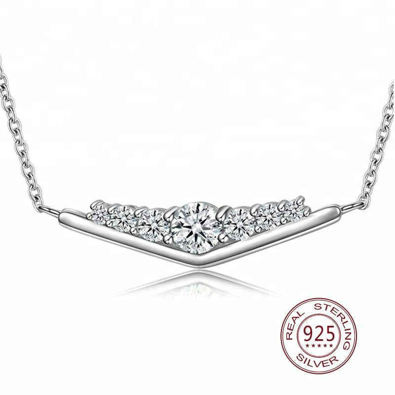 Statement Jewelry Triangle Pure American CZ Charms Necklace 925 Silver White Gold plated Pendant Necklace - QJ jewelry