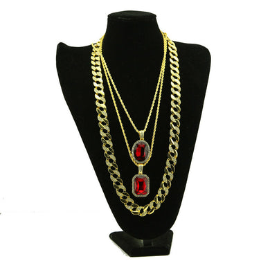 Alloy necklace kit hiphop hip hop diamond ruby men's European and American necklace 3 En 1 - QJ jewelry
