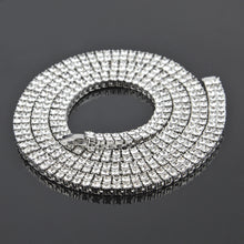 Men's alloy diamond 2 row necklace hiphop jewelry spot hip hop - QJ jewelry
