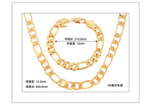 Hot 18K gold-plated necklace jewelry and bracelet copper jewelry set 2 en 1 - QJ jewelry
