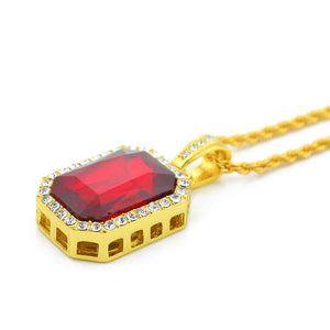 Hip-hop diamond square 4.5*2.5 ruby Europe hiphop men's necklace hot sale - QJ jewelry