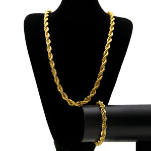 ROPE CHAIN Men's Hip Hop 1cm Twist Chain Bracelet Necklace Set - QJ jewelry