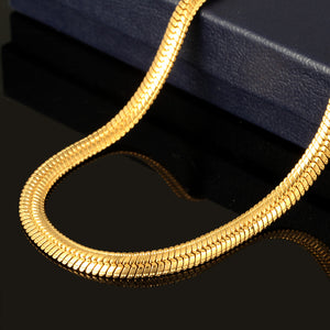 High Quality sales in Europe and America Snake bone chain 18K gold-plated items men's copper necklace jewelry - QJ jewelry