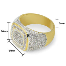 Gold-plated micro-inlaid zircon ring hiphop hipster hip-hop men's ring - QJ jewelry