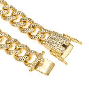 HipHop hip hop jewelry pavé zircon 8-inch Cuban bracelet vacuum plating Bracelet - QJ jewelry