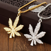 New Cannabis Leaf Maple Leaf Iced Out Pendant Long ladies Necklace pendant - QJ jewelry