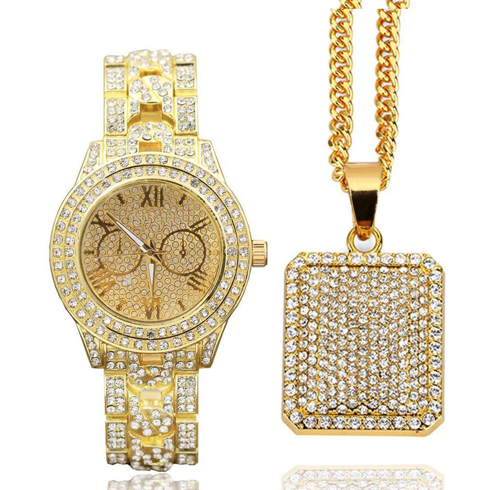 High Quality Mens Full Of Shiny Stones Hip Hop Iced Out Watch & Iced Square Dog Tag Necklace Combo Set - QJ jewelry