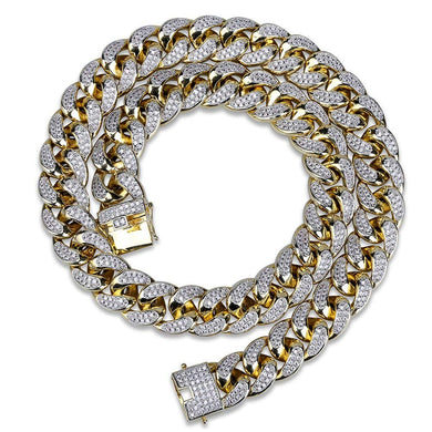 18mm 14K Gold Plated Full Iced Out Zircon Lab Diamond Big Dog Miami Mens Cuban Choker Link Chain Necklace