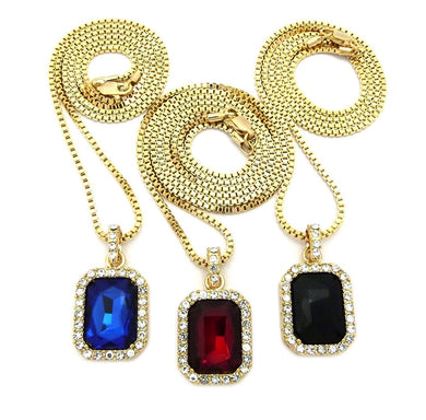 USA Mens ICED Out Hip HOP RED Ruby, Black Onyx Blue & Green Pendant Box Chain Necklace Set of 3