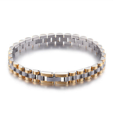High Quality Simple compartment gold color titanium steel men's bracelet jewelry - QJ jewelry