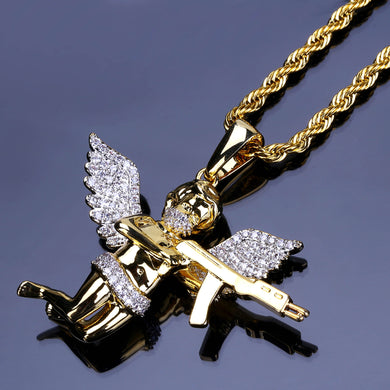 Little love god Cupid archery hip hop necklace Micro inlaid pendant fashion jewelry - QJ jewelry