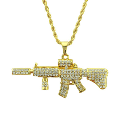 New necklace hip hop submachine gun necklace mini AK47 full diamond pendant - QJ jewelry