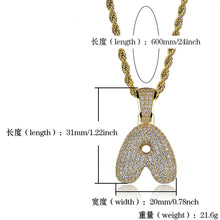26 English letter  gold-plated pendant jewelry  micro-inlaid zircon necklace - QJ jewelry