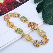 Colored zircon men and women bracelets Plated gold hip hop micro-inlaid hipster button bracelet - QJ jewelry