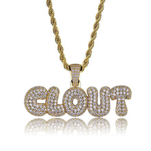 letters CLOUT stitching pendants Plated gold micro-inlaid zircon hip hop hipster men's necklace - QJ jewelry