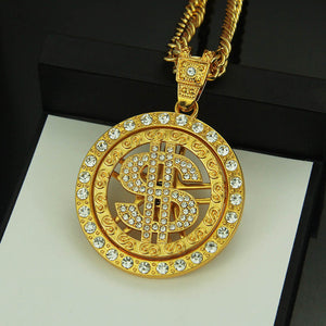 hip hop diamond dollar pendant necklace Rotating personality men's fashion pendant accessories - QJ jewelry