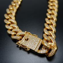 12MM Hip Hop Jewelry Full Diamond Micro Inlay Zircon Large Gold Chain Cuban Chain Necklace - QJ jewelry