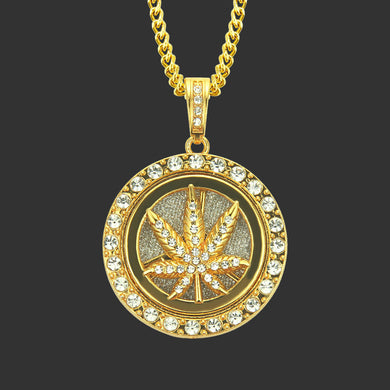European and American hip hop diamond men's flashing rotating pendant necklace Big maple leaf accessories - QJ jewelry