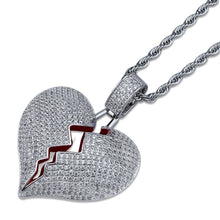 high quality Heartbreak shape male and female couple pendant full zircon hip hop necklace - QJ jewelry