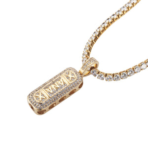 High qualityXANAX Zircon Cutout Pendant HIPHOP Hip Hop Jewelry Necklace - QJ jewelry