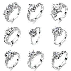 Wholesale Round Halo Engagement Ring Brilliant Cut Center-Bridal Ring - QJ jewelry